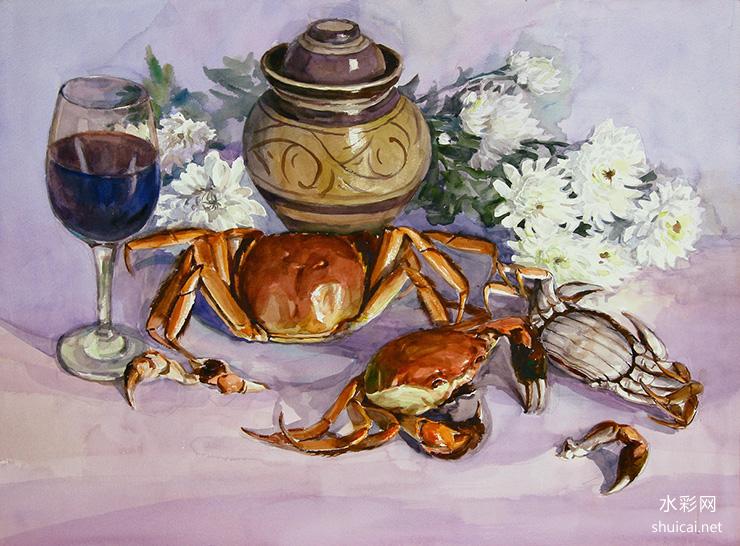 张厚进水彩画作品《冬蟹》