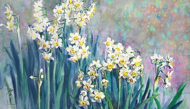 《水仙》79x54cm 张厚进水彩画作品
